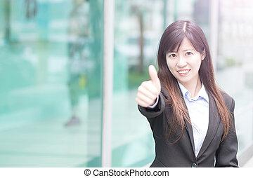 從事工商業的女性, 姆指向上