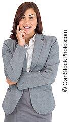從事工商業的女性, 微笑, 照像機