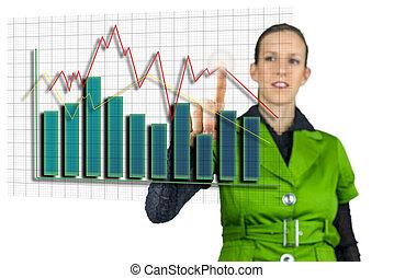 從事工商業的女性, 指向, 交談方式式, 事務, 圖表