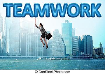 從事工商業的女性, 概念, 配合, 飛行