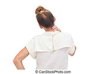 從事工商業的女性, 減少, 脖子, 疼痛