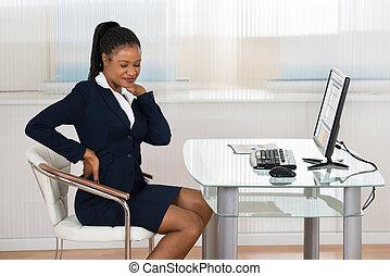 從事工商業的女性, 痛苦, 從, neckache