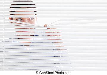從事工商業的女性, 窗口, 在外, 偷看, 好奇