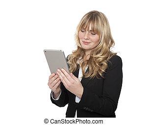 從事工商業的女性, 閱讀, 她, tablet-pc
