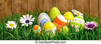 復活節蛋, 以及, 花, 在, 草
