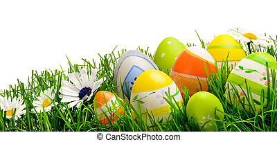 復活節蛋, 以及, 花, 在, 草, 被隔离