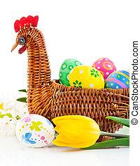 復活節蛋, 在, 籃子, 由于, 黃色的郁金香, 花