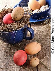 復活節蛋, 在, 藍色, 搪瓷, 杯子, 由于, 秸桿