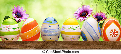 復活節蛋, 花, 以及, bokeh, 背景