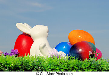 復活節蛋, 花, 天空, 草地