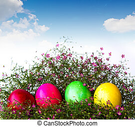 復活節蛋, 花, 草, 鮮艷