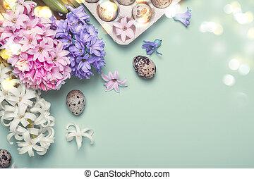復活節, 假期, 藍色, 背景。, 鵪鶉, 蛋, 以及, 風信子, 花
