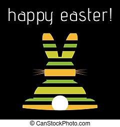 復活節, 問候, 上色, 有條紋, 兔子, 后部的見解
