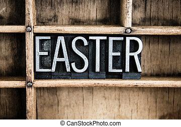 復活節, 概念, 金屬, letterpress, 詞, 在, 抽屜