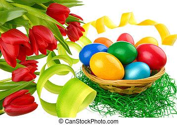 復活節, 裝飾, 上, 純淨, 白色