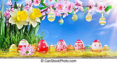 復活節, 賀卡, 由于, 桃