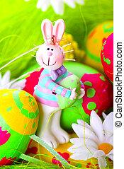 復活節bunny, 以及, 繪, 蛋