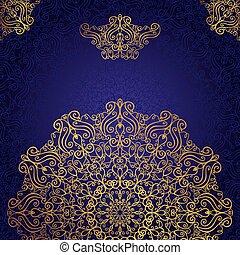 復活, mandala, 民族, 金, 渦巻, バックグラウンド。, pattern.