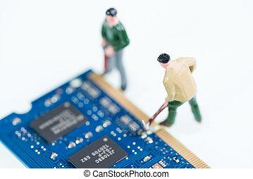 微型畫, 工人,  RAM, 工作