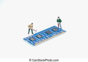 微型畫,  RAM, 工人, 工作