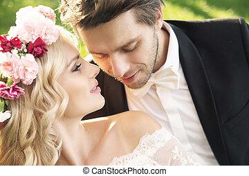 微妙, 新娘, 由于, 漂亮, 新郎