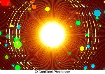微片, 金, 抽象的, 背景, 赤, 光線