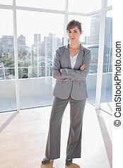 微笑に立つこと, オフィス, 女性実業家