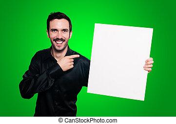 微笑の人, 保有物, ブランク, 白人の委員会, 上に, 緑, backgroud