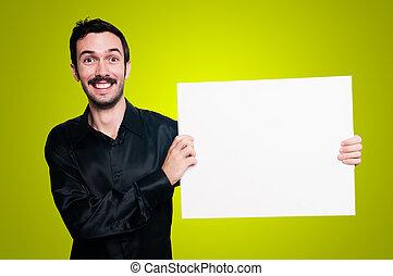 微笑の人, 保有物, ブランク, 白人の委員会, 上に, 黄色, backgroud