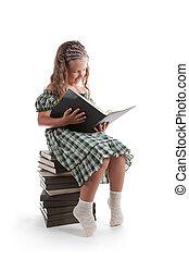 微笑の女の子, ∥で∥, おさげ, 本を読む