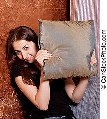 微笑の女の子, 顔つき, から, の, ∥, 袋