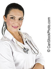 微笑の女性の医者