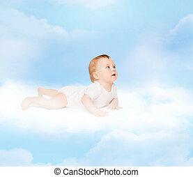 微笑の赤ん坊, あること, 上に, 雲, そして, 調べること