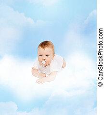 微笑の赤ん坊, あること, 上に, 雲, ∥で∥, 模造, 中に, 口