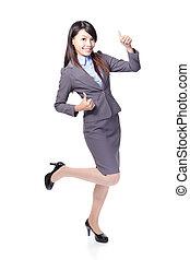微笑の 女性, の上, ビジネス, 親指