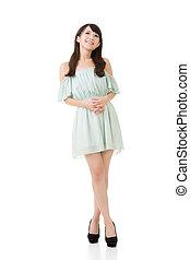微笑の 女性, アジア人, 若い