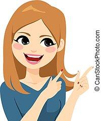 微笑の 女性, ジェスチャーで表現する