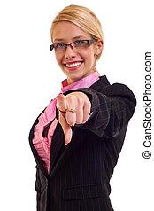 微笑の 女性, ビジネス, 指すこと
