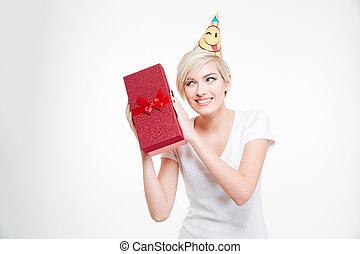 微笑の 女性, 中に, パーティー帽子, 保有物, プレゼント, 箱