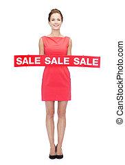 微笑の 女性, 中に, 赤いドレス, ∥で∥, 販売サイン