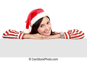 微笑の 女性, 中に, santa, 赤い帽子, ∥で∥, 空白のサイン, 広告板