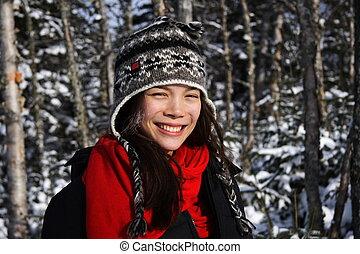 微笑の 女性, 冬, 若い