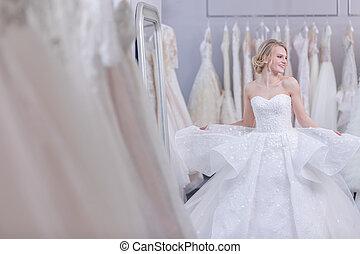 微笑の 女性, 服, 魅力的, 結婚式