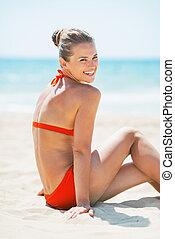 微笑の 女性, 浜, 若い, モデル