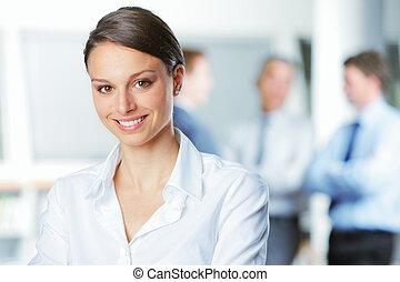 微笑の 女性, 若い, ビジネス