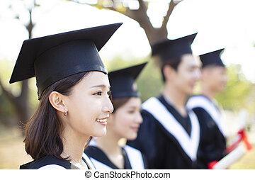 微笑の 女性, 若い, 卒業, アジア人