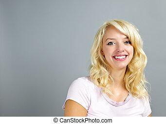 微笑の 女性, 若い, 幸せ