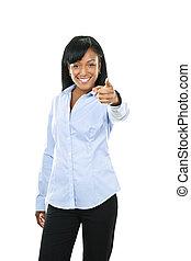 微笑の 女性, 若い, 指を 指すこと