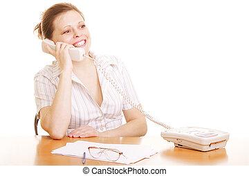 微笑の 女性, 電話