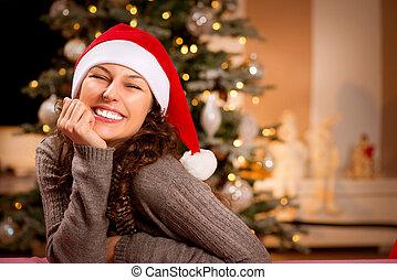 微笑の 女性, santa, hat., 女の子, クリスマス, 幸せ